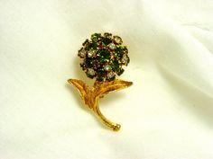 Vintage Green Rhinestone Flower Brooch made in Austria by SomeLittleStars, $18.00