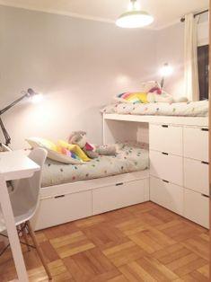 Bunk Bed Rooms, Cool Bunk Beds, Kid Beds, Bedroom Study Area, Room Decor Bedroom, Girls Bedroom, Bedrooms, Home Room Design, Kids Room Design