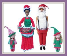 Crochet Ken Claus, Barbie Claus, Elf Kelly, and Elf Tommy by Rebeckah's Treasures