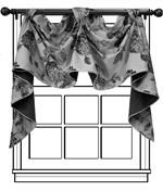 Custom Noble Valance - Group D : custom window treatments for kitchen with custom wood curtain drapery rod
