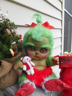 Hi my name is Donna Finke, I am the artist who creates wicked cute delights. This week I offer you a reborn baby doll Grinch handmade by me, it is approx. Grinch Christmas Party, Christmas Art, Christmas Stockings, Christmas Ornaments, Baby Grinch, Santa Doll, Reborn Baby Dolls, Blythe Dolls, Art Dolls
