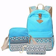8f63ee6145 AEQUEEN 3 PCS Set Women Backpack Canvas Printing School Bags For Teenagers  Girls Laptop Backpacks Cute Rucksack School Bags