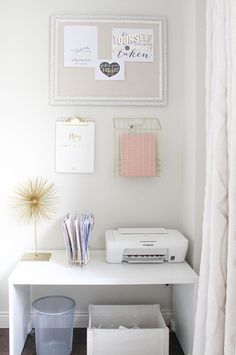 pretty home office, stylish home office, feminine home office, home office design, blogger office, designer office, pink shag pillow, white and gold office, blush office, white shelving, shelving décor, cream curtains, creative entrepreneur office, kate spade home office, desk styling, office styling, before and after, home tour,