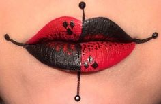 Lip art inspired by ♠️♥️Harley Quinn ♦️♣️ I used the red and black from the flash pallet then set them with Love+ and Bulletproof. The black dots and diamonds are precision liquid liner and the red dots are liquid lipstick in Underage Red. Lipstick Art, Lip Art, Lipstick Colors, Liquid Lipstick, Liquid Liner, Lipstick Tattoos, Lipstick For Fair Skin, Red Lipsticks, Maquillage Harley Quinn