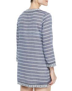 Samali Striped Tunic W/ Embroidered Trim