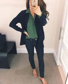 casual fall outfits // cozy navy circle cardigan + utility blouse + petite skinny jeans