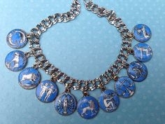 eCharmony Charm Bracelet Collection - Enamel German Zodiac Charms - Blue & White. For Sale.