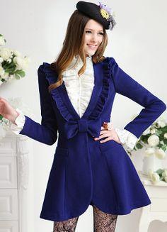 Blue V Neck Long Sleeve Bow Ruffle Outerwear - Sheinside.com