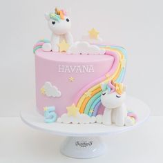 Pink Unicorn Cake with Pastel Rainbows (Havana) - Pink Birthday Cake Ideen Rainbow Birthday, Birthday Cake Girls, Unicorn Birthday Parties, Unicorn Party, Birthday Party Decorations, Unicorn Rainbow Cake, Unicorn Cakes, 5th Birthday, Rhubarb Cake
