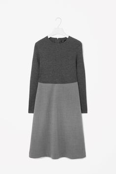 RIBBED TOP WOOL DRESS