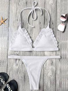 e9f58a2713d33 Rib Texture Frilled Thong Bikini Set - White Thong Bikini