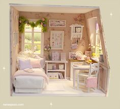 Nerea Pozo Art: ♥ NEW DIORAMA  PINK and LILAC ATTIC BedRoom ♥