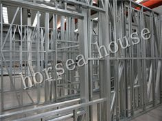 light gauge framing, steel construction villa wall frame is used to build the house main frame House By The Sea, Steel House, Steel Buildings, Framing Materials, Frames On Wall, Villa, Construction, Lighting, Building