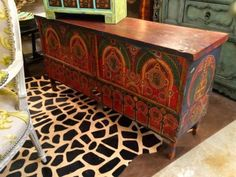 "Tibetan Painted Trunk   52"" Wide x 15"" Deep x 26"" High   $475  Grace Designs Booth #333  City View Antique Mall  6830 Walling Lane Dallas, TX 75231  Like us on Facebook: https://www.faceb"