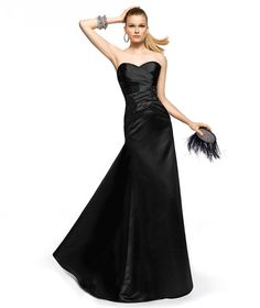 Pronovias presents the Zoraida cocktail dress from the 2013 Long collection. Black bridesmaids dress