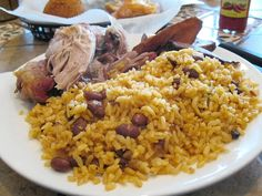 roas pork with rice and beans from humacao, puerto rico