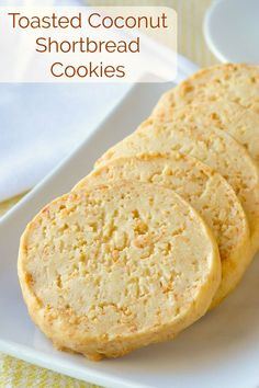 Buttery shortbread is one of life's simple pleasures and these Toasted Coconut Shortbread Cookies add one more layer of flavour to this cookie classic. Desserts Toasted Coconut Shortbread Cookies - so easy and so buttery delicious! Cookie Desserts, Just Desserts, Cookie Recipes, Dessert Recipes, Biscuit Cookies, Yummy Cookies, Coconut Cookies, Coconut Biscotti Recipe, Tea Cake Cookies