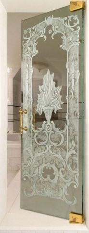 Gorgeous Etched Glass Shower Door
