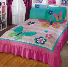 Diy Bedroom Decor For Teens, Bedroom Decor For Teen Girls, Bed Comforter Sets, Kids Bedding Sets, Bed Cover Design, Designer Bed Sheets, Cute Bedding, Girl Room, Baby Quilts