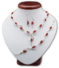 BIŻUTERIA ŚLUBNA KOMPLET ŚLUBNY wieczorowy posrebrzany kryształki czerwony  KP236 Beaded Necklace, Jewelry, Fashion, Beaded Collar, Jewlery, Moda, Pearl Necklace, Jewels, La Mode