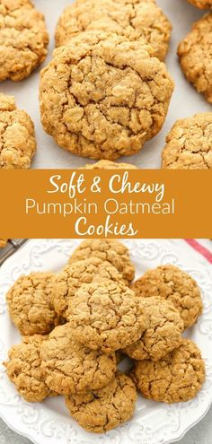 Mmm, Soft and Chewy Pumpkin Oatmeal Cookies that are just in time for the fall season. These pumpkin oatmeal cookies are super soft, thick, chewy, and full of pumpkin flavor! They will the perfect cookie for fall! Pumpkin Oatmeal Cookies, Pumpkin Dessert, Healthy Pumpkin Cookies, Cake Mix Pumpkin Cookies, Halloween Pumpkin Cookies, Oatmeal Cookie Bars, Healthy Oatmeal Cookies, Oatmeal Cookie Recipes, Köstliche Desserts