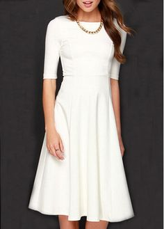Solid White High Waist A Line Dress $35.11 + free shipping www.idealzshopping.com / rosewe
