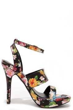 0dd2964edf6daf Patio Garden Black Floral Print High Heel Sandals