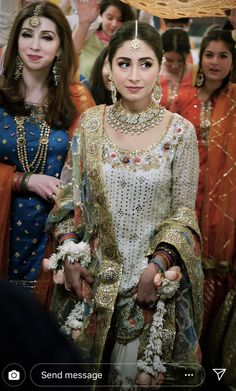 Bride on her dholki wearing afsheen tariq Pakistani Bridal Couture, Pakistani Wedding Outfits, Bridal Outfits, Pakistani Dresses, Indian Dresses, Indian Outfits, Pakistani Fashion Casual, Indian Fashion, Indiana