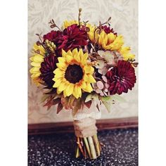 100 Fall Wedding Bouquets for Autumn Brides ❤ liked on Polyvore featuring home, home decor, fall home decor and autumn home decor