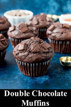 DOUBLE CHOCOLATE MUFFINS RECIPES These double chocolate muffins are moist and hearty. They have beautiful domed tops, are intense in chocolate flavor, and only take 15 minute to bake! Muffin Recipes, Baking Recipes, Dessert Recipes, Desserts, Brunch Recipes, Cupcake Muffin, Cupcake Cakes, Chocolate Flavors, Chocolate Recipes