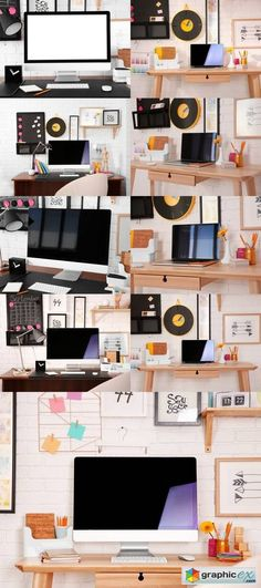 Modern Workplace with Computer  stock images