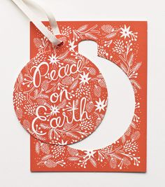 Berry Peace on Earth Ornament Card #luvocracy #holiday #graphicdesign