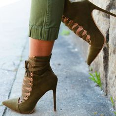Ribbon Lace up Pointy Stiletto Booties