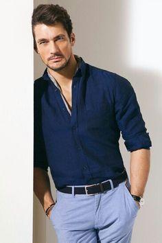 David Gandy w/ dark blue button down and light blue chinos
