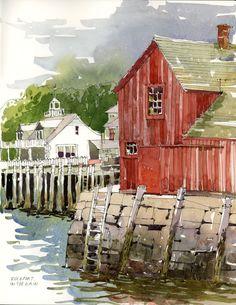 Watercolor Artists, Watercolor Sketch, Watercolour Painting, Painting & Drawing, Watercolors, Watercolor Trees, Watercolor Portraits, Watercolor Architecture, Watercolor Landscape