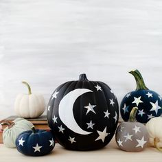 DIY Moon and Stars Pumpkins using @fiskarsamericas Orange-handled Scissors and star craft punches!