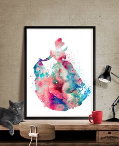Cinderella Art Print Princess Watercolor of by FineArtCenter