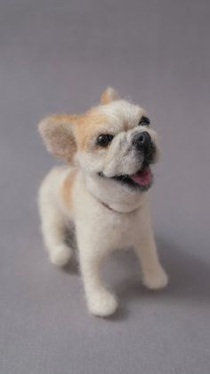 Love the Furkids of sculpture Bulldog needle felted Dog, 3 to 4 inches. $138.00, via Etsy.