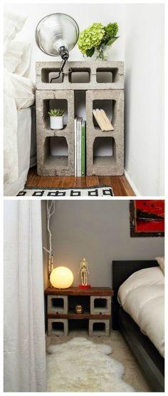 DIY Mesita de noche con bloques de hormigón.                              … - #decoracion #homedecor #muebles