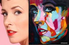 """Custom Francoise Nielly-style pop art portrait from photo, textured oil painting on canvas, 40x40"""""""