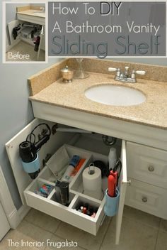 How To DIY A Bathroom Vanity Sliding Shelf with cubbies.  Part of the Home Improvement edition of the Power Tool Challenge.: