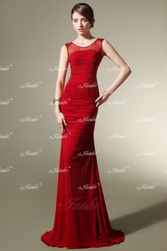 Elegant Slim-fitting Red Satin Sheath Evening Dress with Illusion Neckline JSLD0271