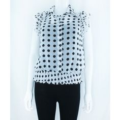 White Polka Dot Blouse With Ruffles http://www.trendzystreet.com/clothing/tops-blouses/white-polkadots-top-tzs5812