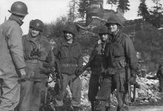 U.S. soldiers in La Roche, Ardenne after the Battle of the Bulge