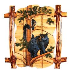 Image detail for -Black Bear Play Wood Art by DL Collections - JHE's Log Furniture Place
