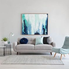 Amp up your modern interior with our Cosmo sofa, Xavier wall art and modish Groove designer chair ! We love these blue summer hues #ozdesignfurniture #interiordesign #style #inspiration #living #design #contemporary #homedecor #homeinspo #home #furniture #FF