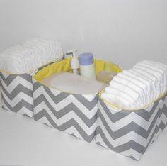 New Design.. Set of 3 Gray White Chevron Slub Zig Zag Yellow Accent Fabric Organizer Bins Baskets Diaper Caddy