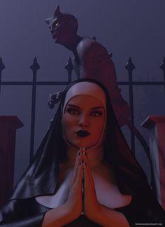 Possessed Nun. Nun, Great Britain, Disney Characters, Fictional Characters, Studio, Disney Princess, Digital, Artwork, Work Of Art