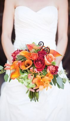 REALLY LIKE THIS ONE! Kate Webber Summer  autumn bouquet bouquets colors fall flower flowers orange apple fall pumpkin red