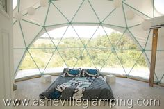 At Asheville Glamping in Asheville North Carolina you can skip the hotel and stay in a Dome with incredible Mountain views! If the Dome is booked you can opt to stay in a magical yurt, vintage trailer, or one of their other glamping tents! www.ashevilleglamping.com